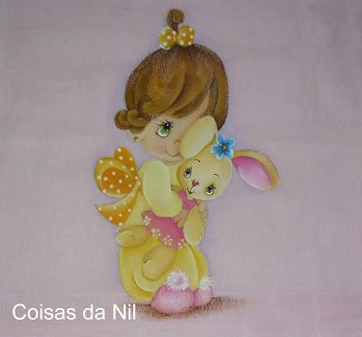 fralda pintada menina com coelhinha preciosos momentos