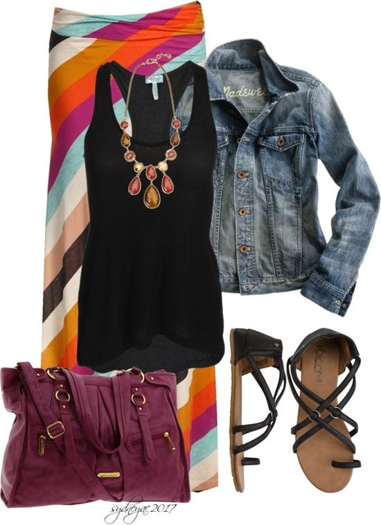 Colorful maxi skirt, black blouse, jean jacket and purple hand bag for ladies