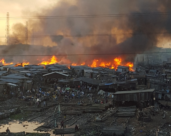 Photos: Ebute Metta water settlement also on fire