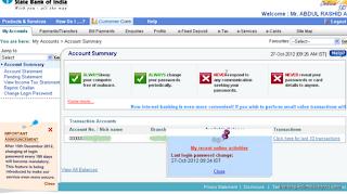 SBI Internet banking Page