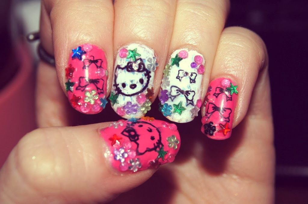 Hello kitty nail designs for short nails hello kitty nail designs hello kitty nail designs for short nails one hundred styles hello kitty nail art designs prinsesfo Images