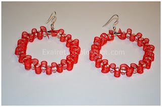 Χειροποίητα σκουλαρίκια (κρίκοι) από  κρυσταλλάκια 6/4mm και κόκκινη οργάντζα!