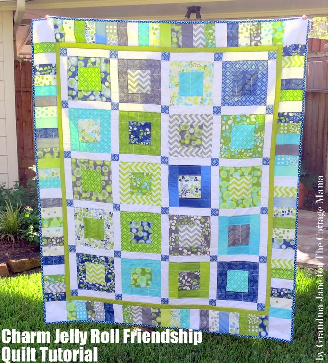 Quilt Patterns Using Moda Jelly Rolls : Charm Jelly Roll Friendship Quilt Tutorial & Simply Color Giveaway - The Cottage Mama