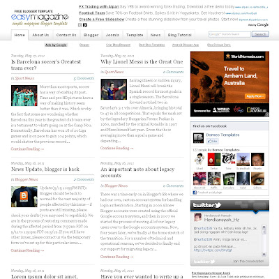 Easy Magazine blogger template with featured content template and 5 column fotter template. blog magazine template blogspot
