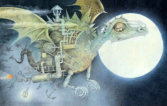 Illustration from Wayne Anderson's The Dragon Machine.