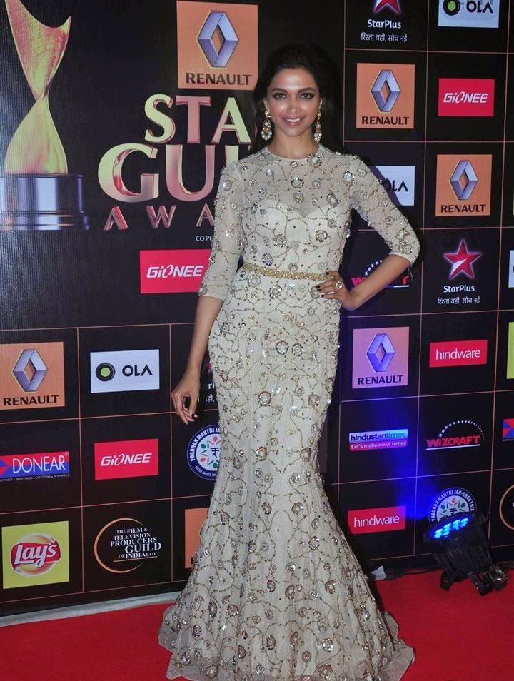Deepika padukone red carpet stills at renault star guild awards 2015