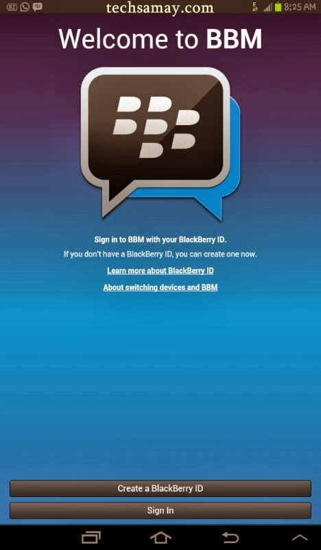 BBM welcome screen on android tablet