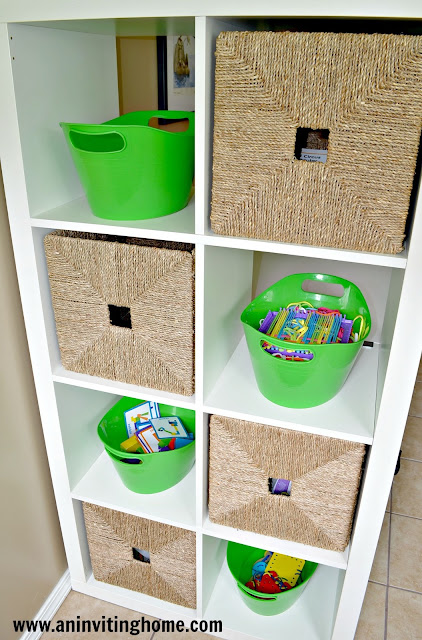 wicker baskets, apple green tubs and white