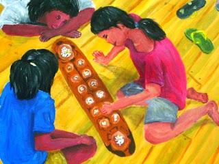 Amun Sungka painting Berns Brijuega, laro ng lahi, katututbong laro ng Pilipinas, sungka