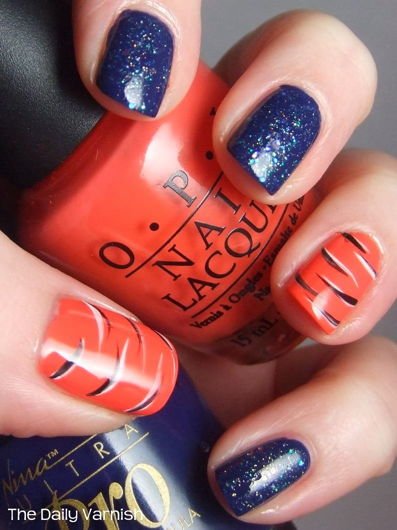 Auburn Tiger Stripes and Glitter manicure