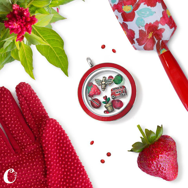 Red Summer Themed Origami Owl Living Locket filled with fun summer charms | Shop StoriedCharms.com and create your own locket today
