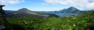 Panoramic view of Mount and Lake Batur in Bali Indonesia