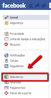 Passo 4 para remover vírus do Facebook: clicar em Aplicativos
