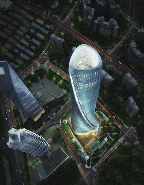 Shanghai Tower at night as seen from the air