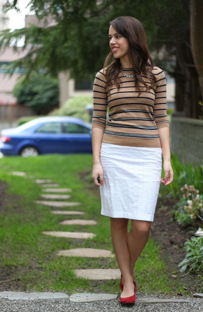 jules in flats: j.crew striped charley and white eyelet pencil skit