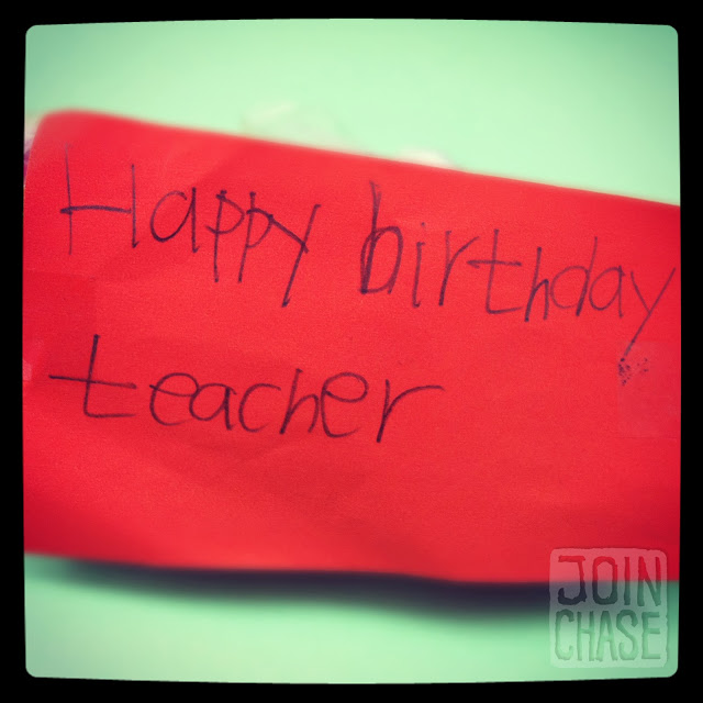 A birthday note from an elementary student in South Korea.