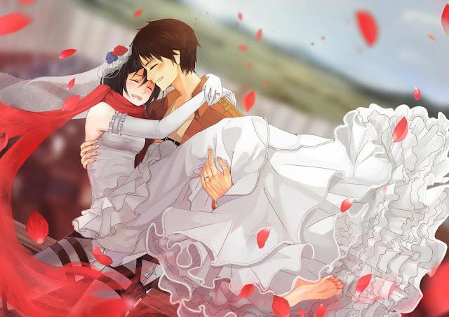 Mikasa Ackerman Eren Jaeger Attack on Titan Shingeki no Kyojin Petals Scarf Smiling  Anime HD Wallpaper Desktop PC Background a41