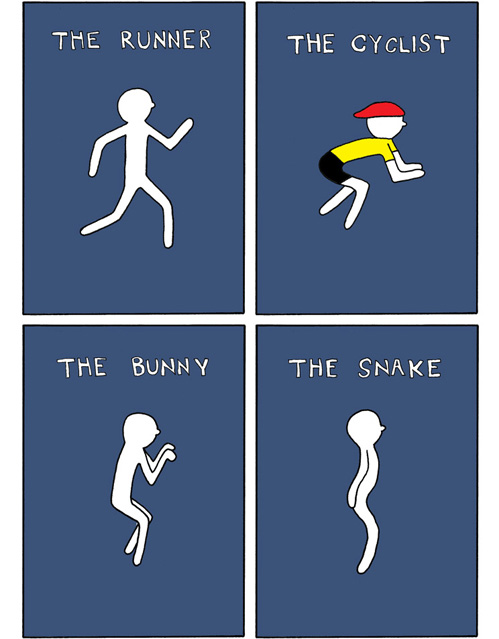 Sleeping Positions: The Runner, The Cyclist, The Bunny, The Snake