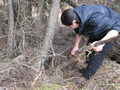 A picture of Anita Wirawan using branches to cover up the Jody memorial cache.