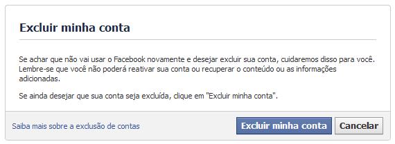 excluir minha conta facebook sempre