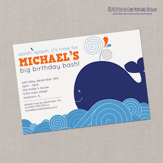 Piece of Cake Printable Designs Whale Themed Invitations and Party