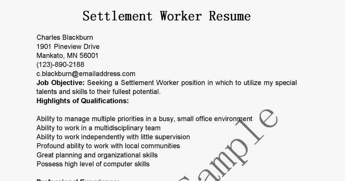 resume samples  settlement worker resume sample