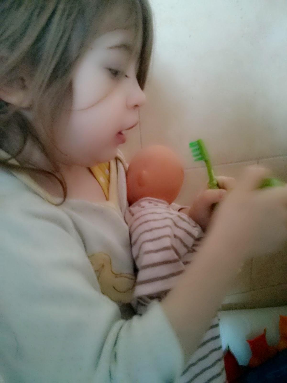 eldest getting ready to brush teeth