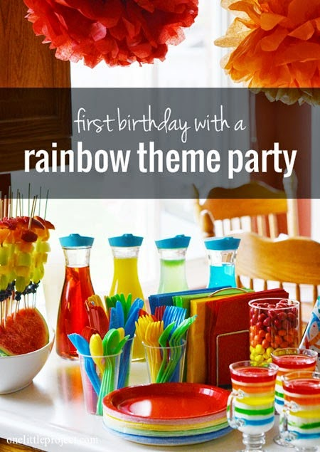Rainbow Themed First Birthday Party