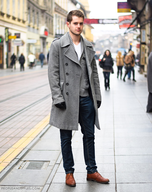 urban casual winter fashion men 2014, Man's winter cool outfit: grey coat, grey wooly cardigan, white t-shirt and jeans. Guys latest urban street style fashion outfit inspiration.