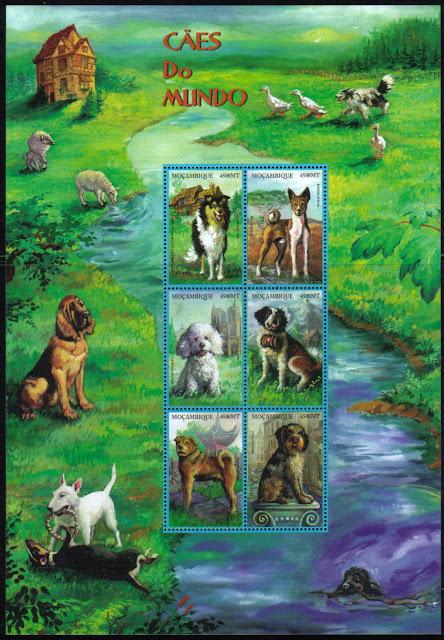 1999年モザンビーク共和国 シェットランド・シープドッグ、バセンジー、プードル、セント・バーナード、シャー・ペイ、イタリアン・スピノーネの切手シート