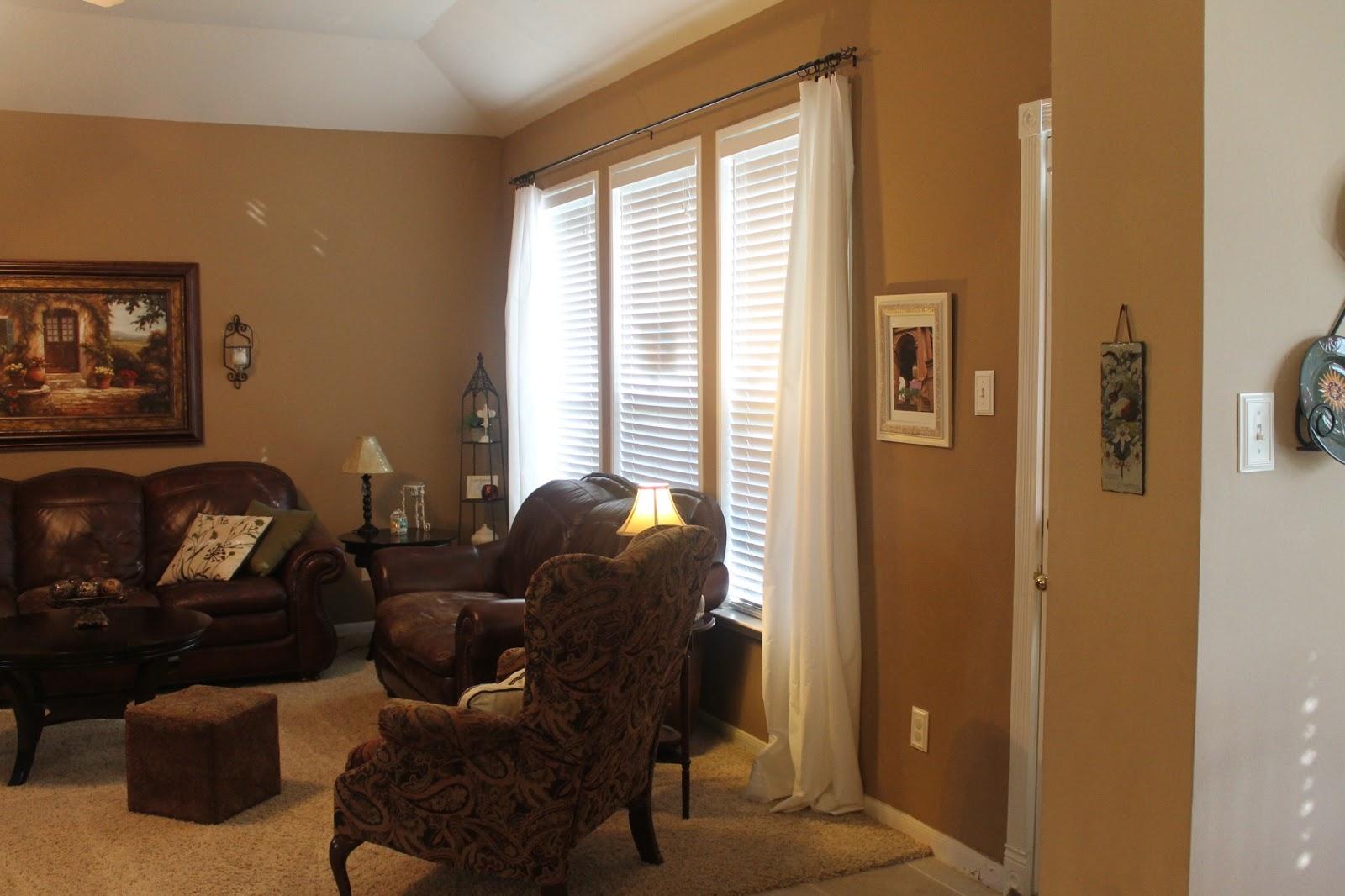 """Curtains Ideas curtain rod ring clips : Texas Decor: Family Room """"Curtains"""" for $5!"""
