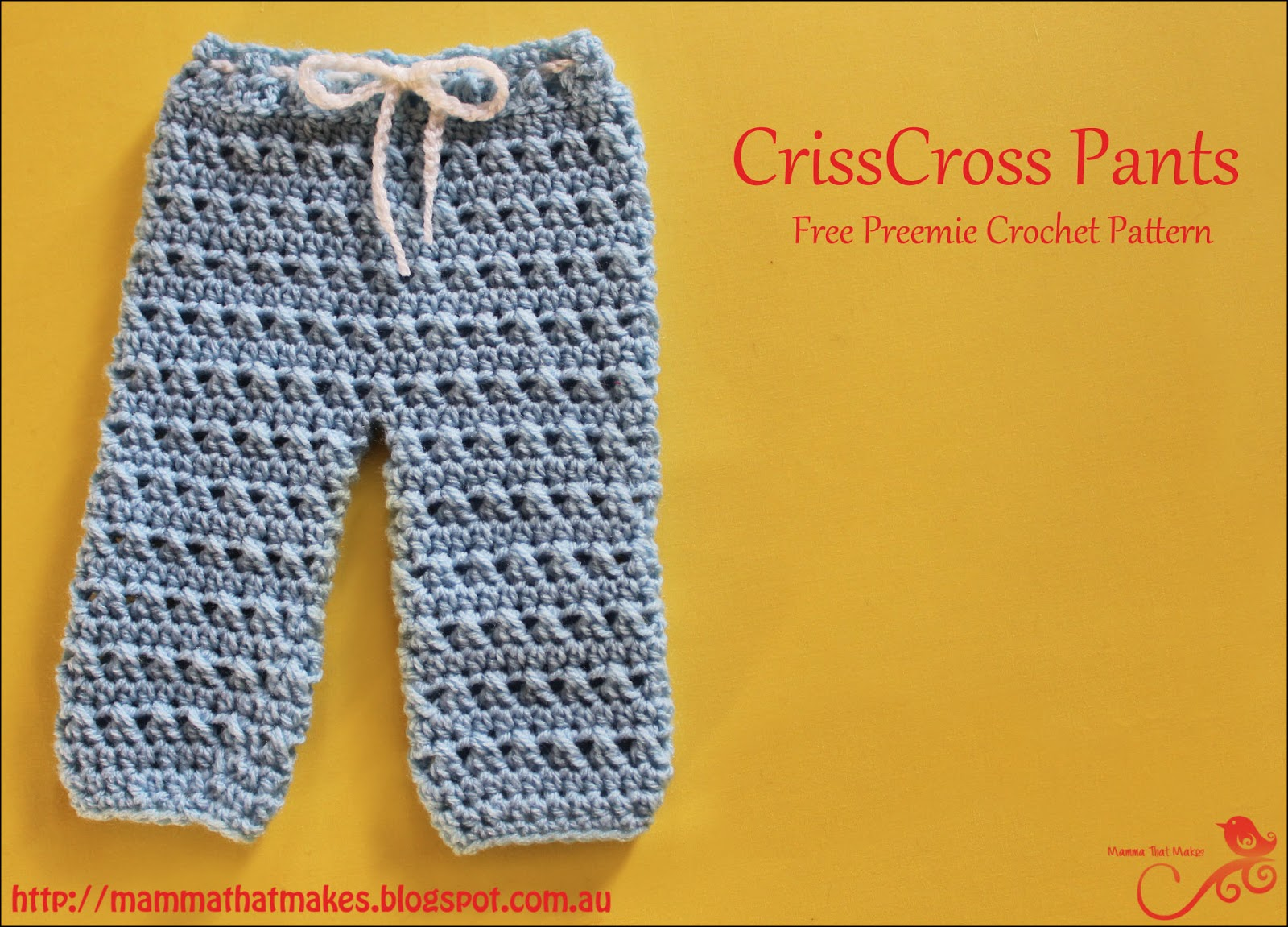 Free Crochet Pattern Preemie Clothes : Mamma That Makes: CrissCross Pants - Free Preemie Crochet ...