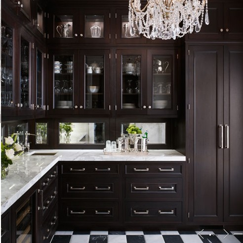 Luxury kitchen designs white walls pale aqua ceiling for Black white and gold kitchen
