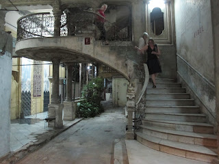 Faded grandeur of La Guardia Restaurant entrance in Havana, Cuba
