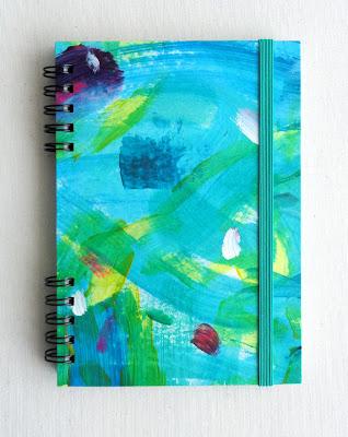 Libreta hecha a mano. Libreta ilustrada. Libreta A6, azul, turquesa