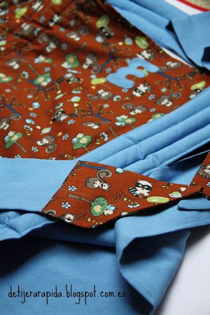 Mei tai personalizado  azul con mapaches