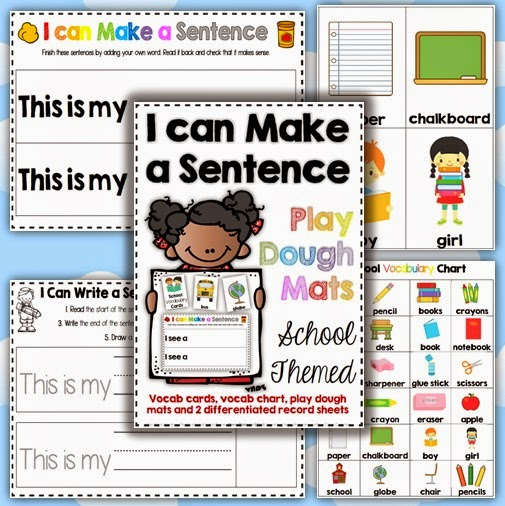 Back to School: I can Make a Sentence Playdough mats using basic structures for Kindergarten