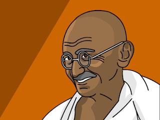 Mahatma Gandhi dalam bentuk kartun