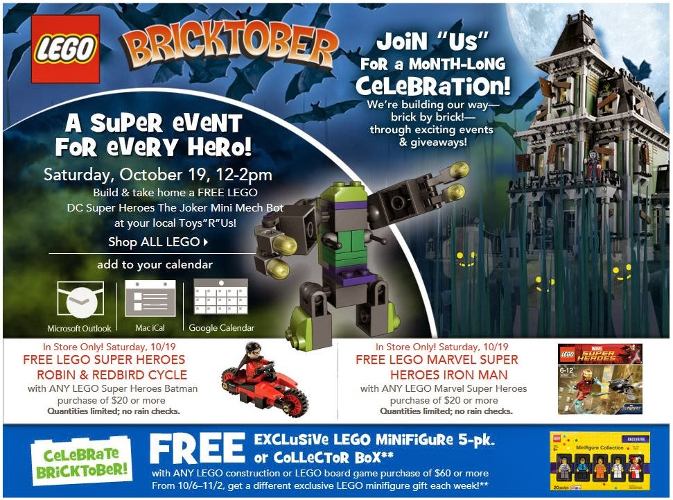 montebello mom free legos at bricktober toys r us saturday 10 19