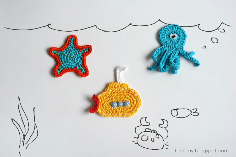 Under the water crochet appliques
