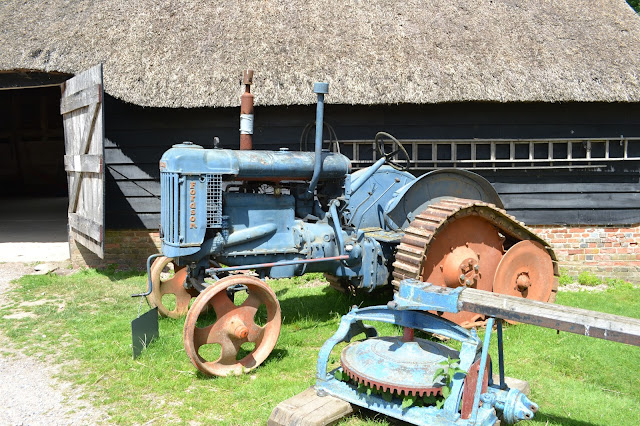 An old blue tractor