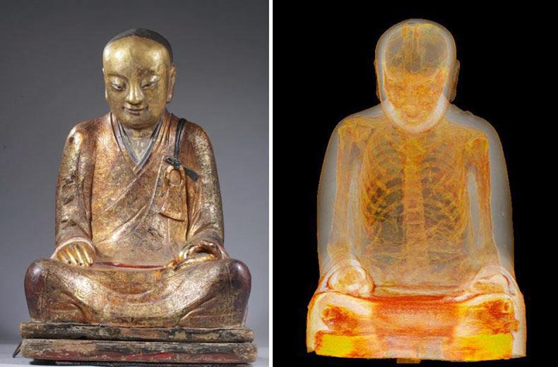 Tomografía computarizada revela que estatua de Buda es en realidad una tumba de un monje momificado