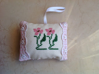cross stitch scented pillows, easy homemade gifts