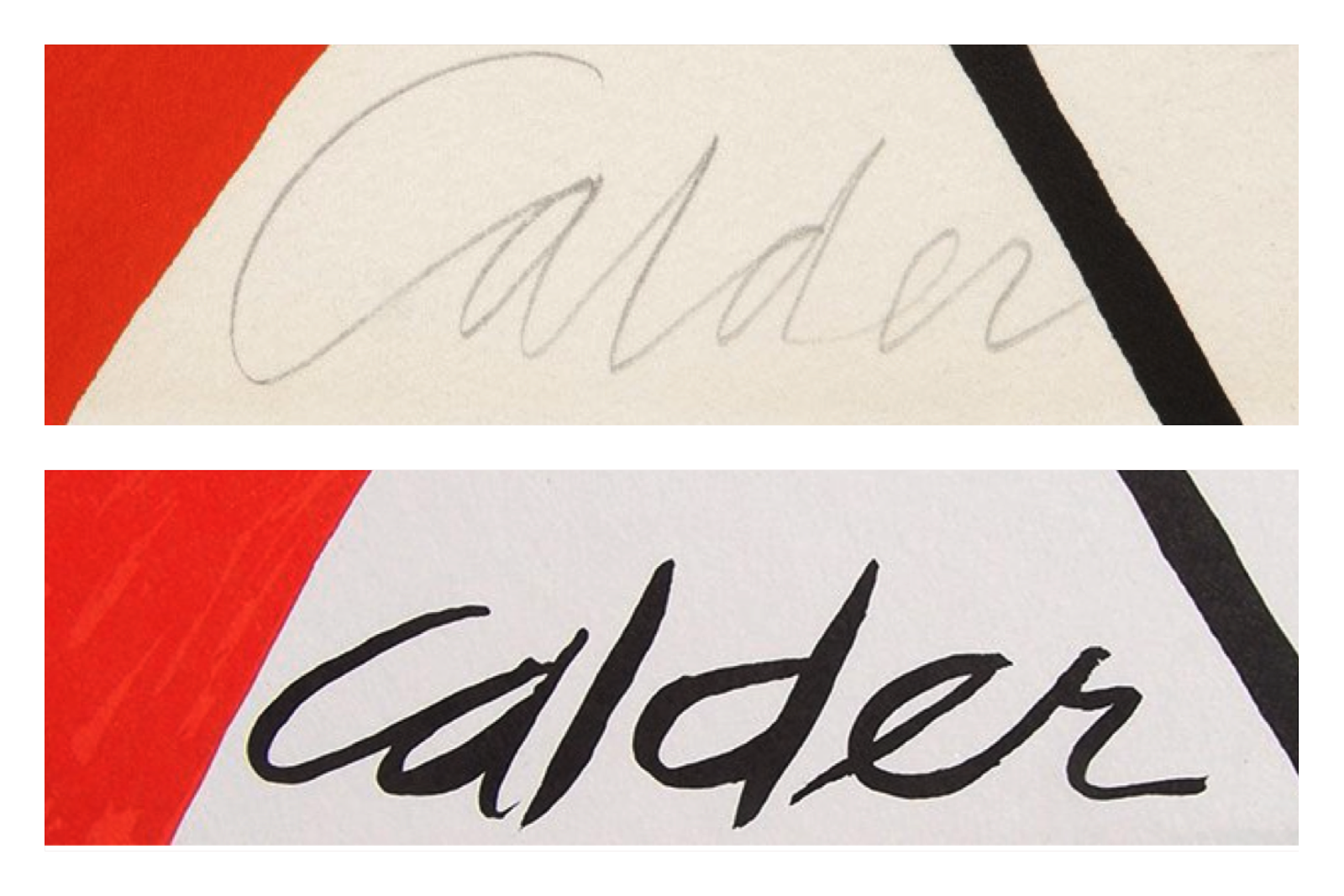 Two Examples of Counterfeit Calder titled  Candy Canes