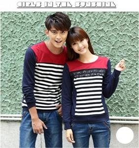 Jual Sweater Salur Renda Couple Online Murah di Jakarta Lengan Panjang Trendy