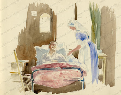 Watercolour of a nurse tending to a wounded soldier in a hospital, by Captain Robert Mauchlen,9th Battalion, Durham Light Infantry c.1917 (D/DLI 7/7/920/11(11))