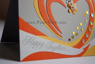 yellow orange sequined heart congratulatory card