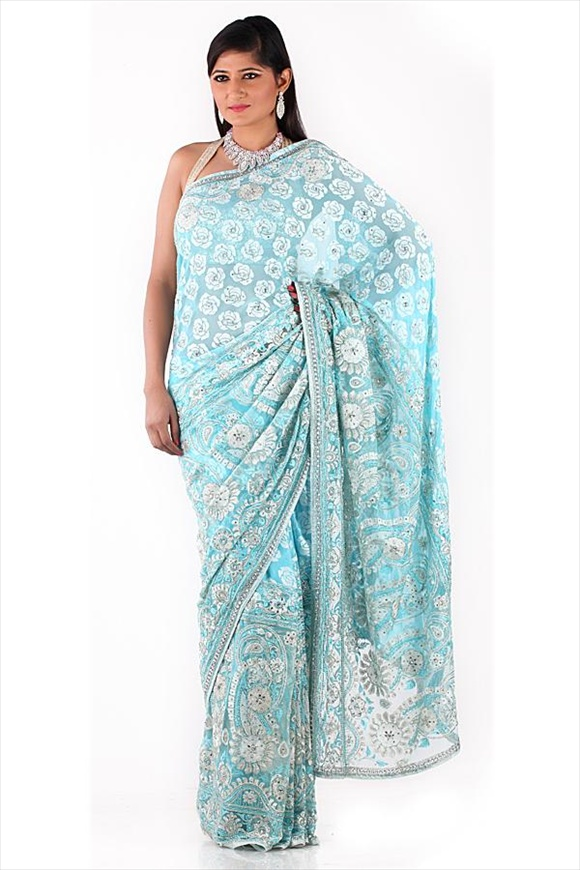 Sky Blue Net Saree