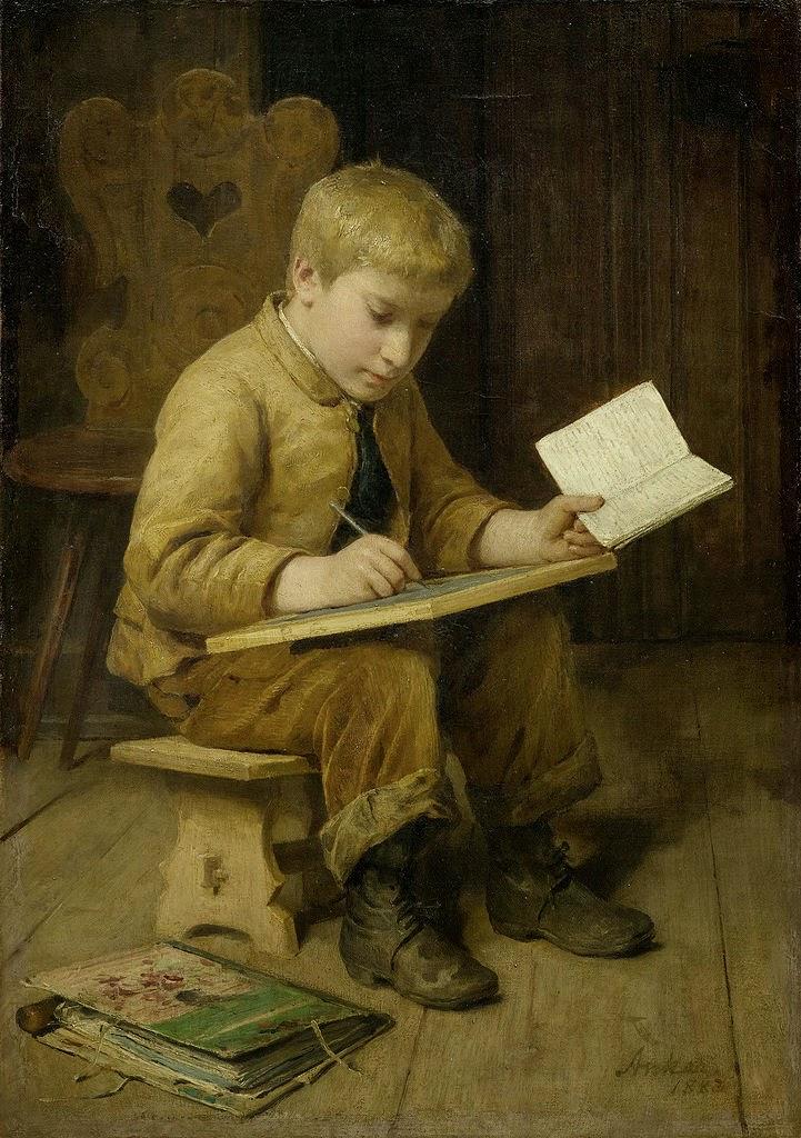 schreibender kanbe, albert anker,painting review