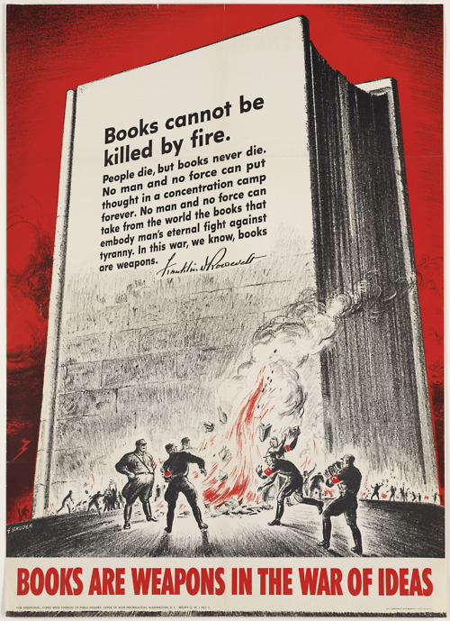 Books Cannot Be Killed By Fire ~ WWII Censorship Print